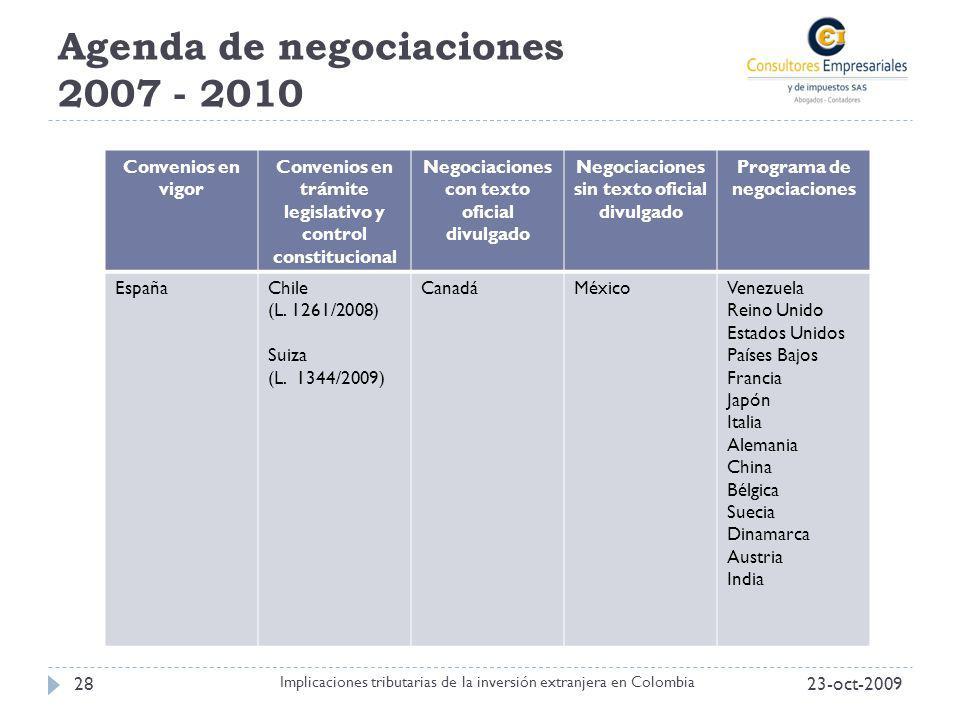 Agenda de negociaciones 2007 - 2010 Convenios en vigor Convenios en trámite legislativo y control constitucional Negociaciones con texto oficial divul