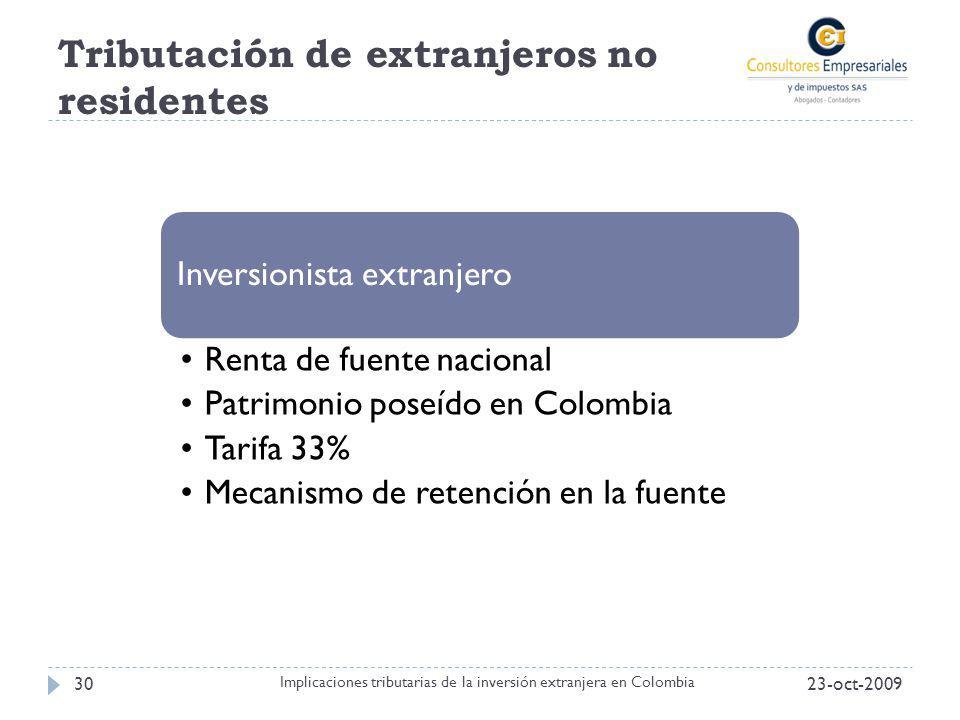 Tributación de extranjeros no residentes 23-oct-200930 Implicaciones tributarias de la inversión extranjera en Colombia Inversionista extranjero Renta