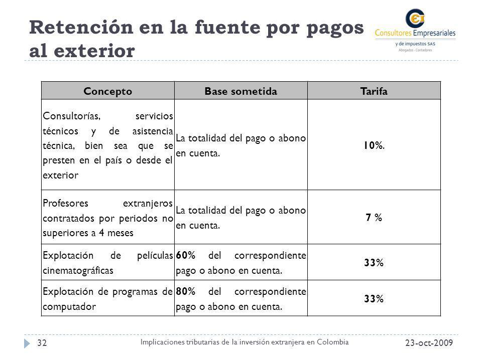 Retención en la fuente por pagos al exterior 23-oct-200932 Implicaciones tributarias de la inversión extranjera en Colombia ConceptoBase sometidaTarif