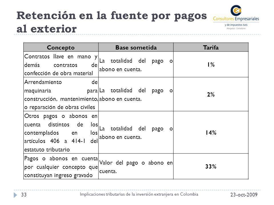 Retención en la fuente por pagos al exterior 23-oct-200933 Implicaciones tributarias de la inversión extranjera en Colombia ConceptoBase sometidaTarif