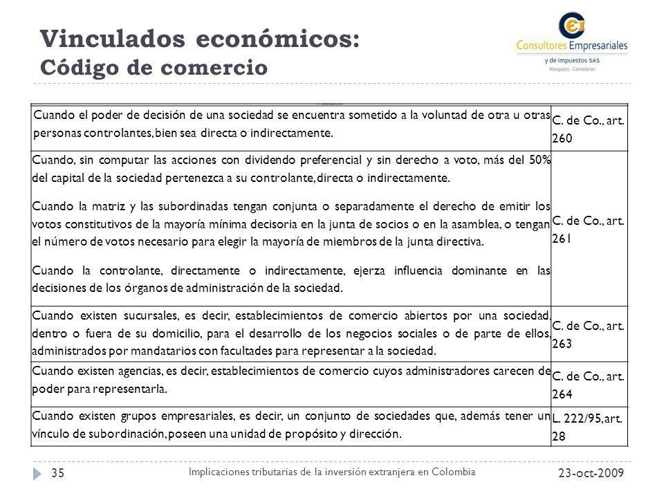 Vinculados económicos: Código de comercio 23-oct-200935 Implicaciones tributarias de la inversión extranjera en Colombia Tabla 1. Casos de vinculación