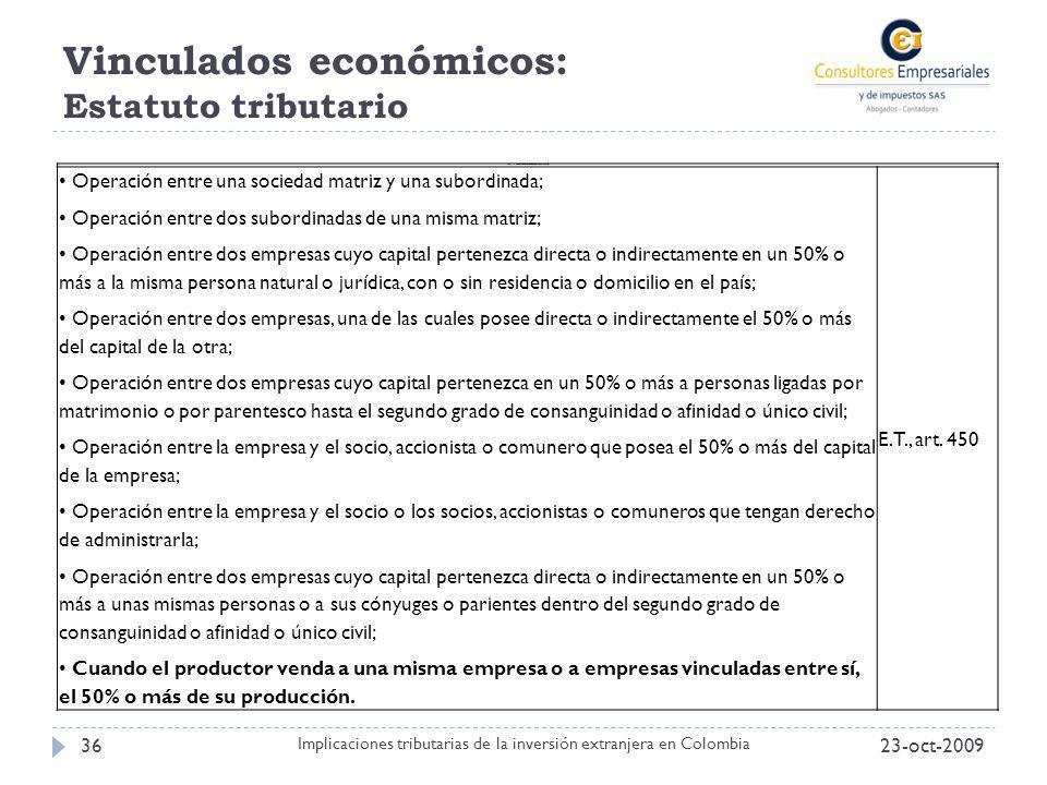 Vinculados económicos: Estatuto tributario 23-oct-200936 Implicaciones tributarias de la inversión extranjera en Colombia Tabla 1. Casos de vinculació