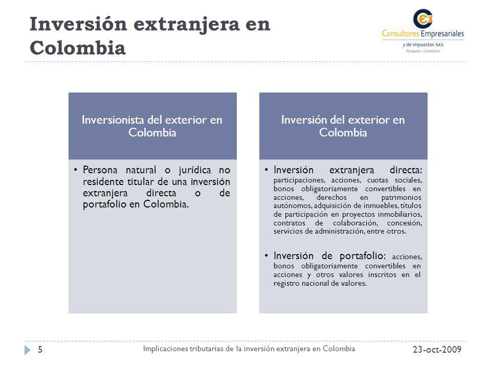 Inversión extranjera en Colombia 23-oct-20095 Implicaciones tributarias de la inversión extranjera en Colombia Inversionista del exterior en Colombia