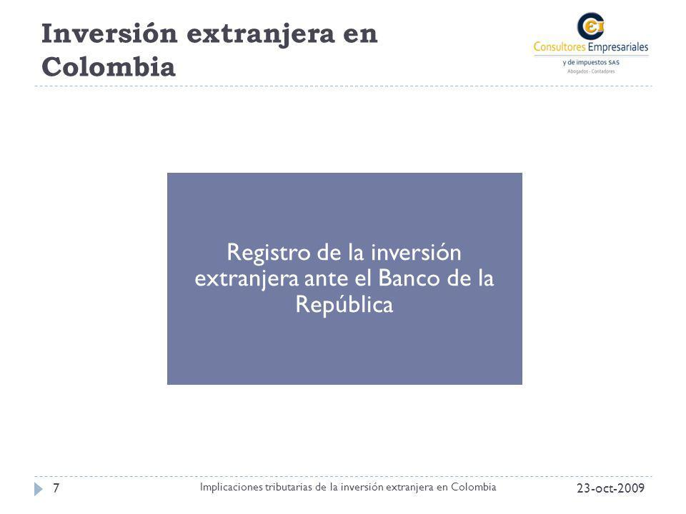 Inversión extranjera en Colombia 23-oct-20097 Implicaciones tributarias de la inversión extranjera en Colombia Registro de la inversión extranjera ant