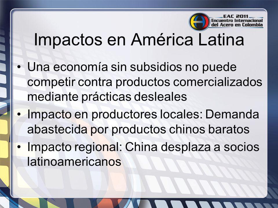 Impactos en América Latina Una economía sin subsidios no puede competir contra productos comercializados mediante prácticas desleales Impacto en produ