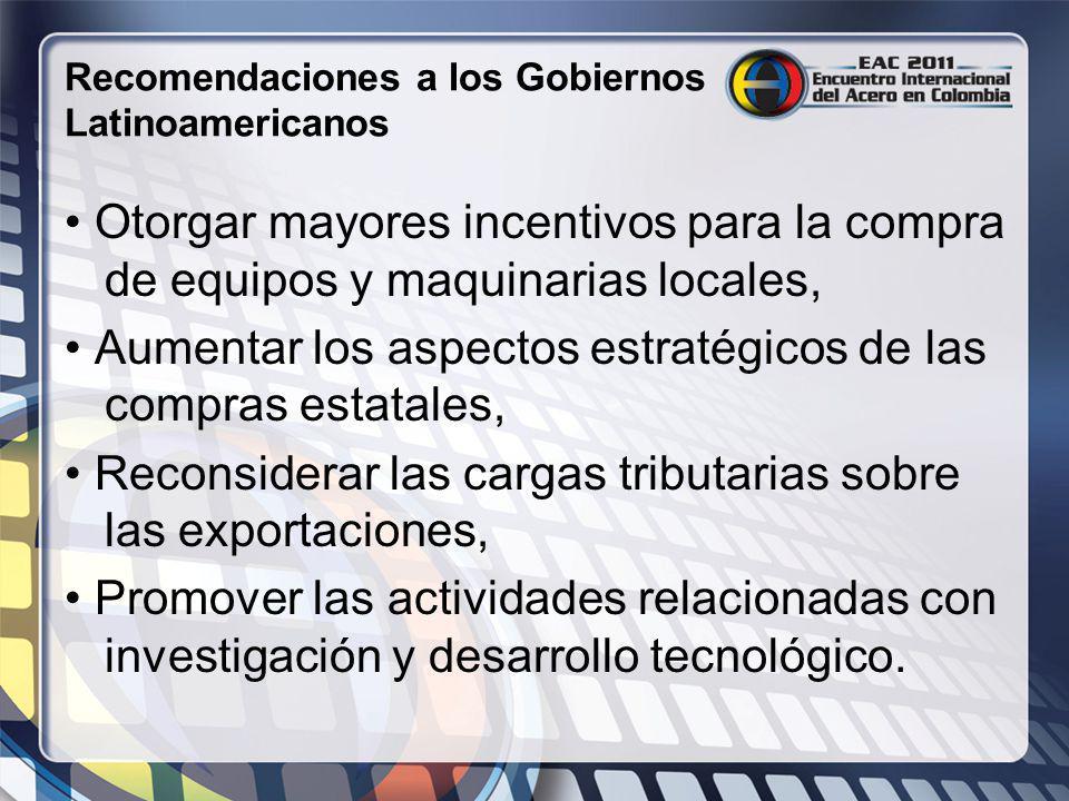 Recomendaciones a los Gobiernos Latinoamericanos Otorgar mayores incentivos para la compra de equipos y maquinarias locales, Aumentar los aspectos est