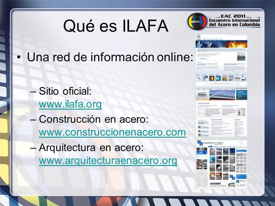 Qué es ILAFA Una red de información online: –Sitio oficial: www.ilafa.org www.ilafa.org –Construcción en acero: www.construccionenacero.com www.constr