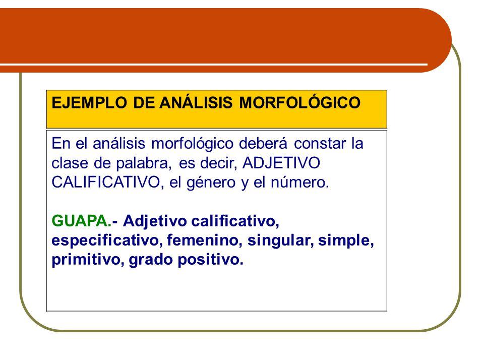 EJEMPLO DE ANÁLISIS MORFOLÓGICO En el análisis morfológico deberá constar la clase de palabra, es decir, ADJETIVO CALIFICATIVO, el género y el número.