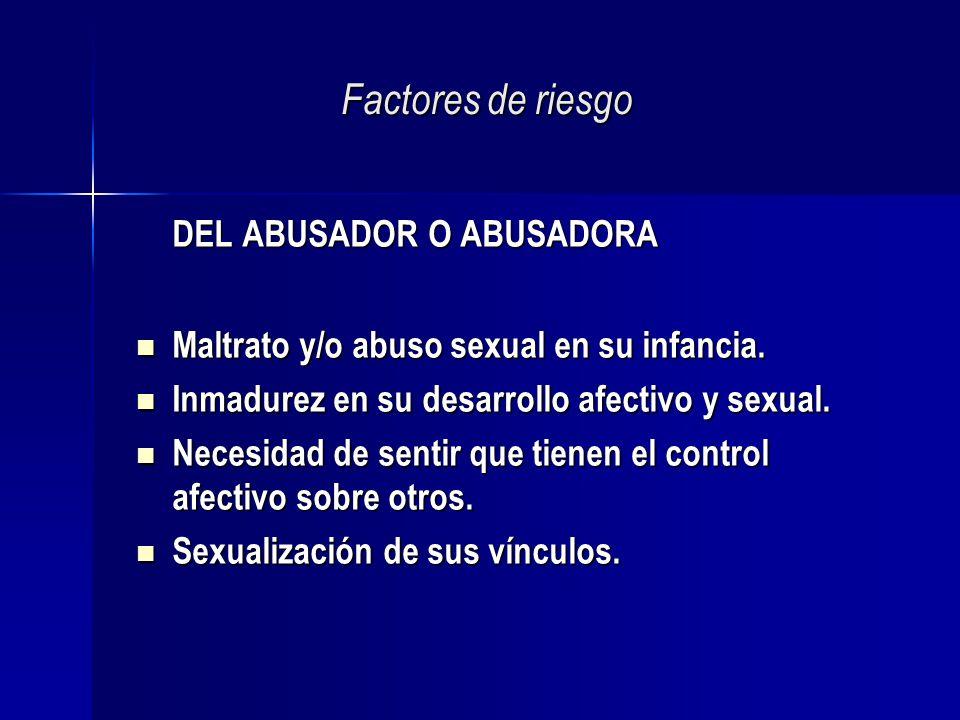 Factores de riesgo DEL ABUSADOR O ABUSADORA Maltrato y/o abuso sexual en su infancia. Maltrato y/o abuso sexual en su infancia. Inmadurez en su desarr