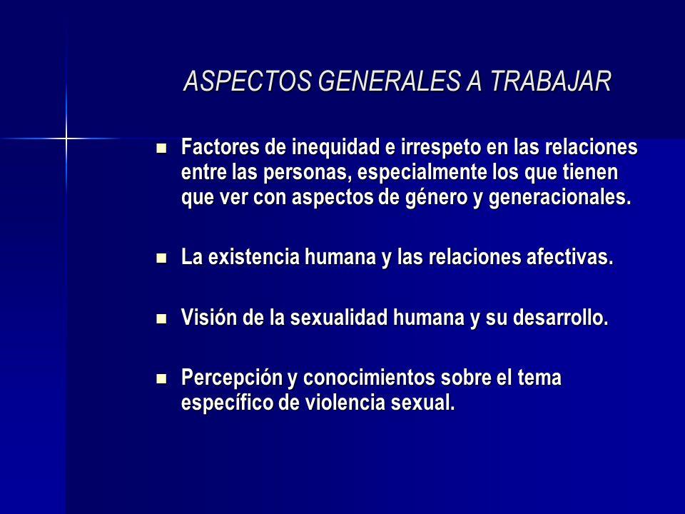 ASPECTOS GENERALES A TRABAJAR Factores de inequidad e irrespeto en las relaciones entre las personas, especialmente los que tienen que ver con aspecto