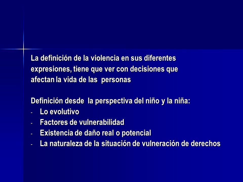 La definición de la violencia en sus diferentes expresiones, tiene que ver con decisiones que afectan la vida de las personas Definición desde la pers