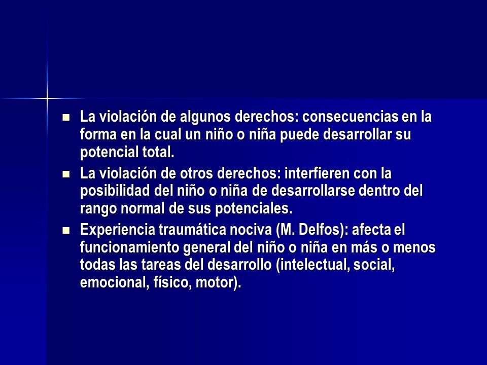 La violación de algunos derechos: consecuencias en la forma en la cual un niño o niña puede desarrollar su potencial total. La violación de algunos de