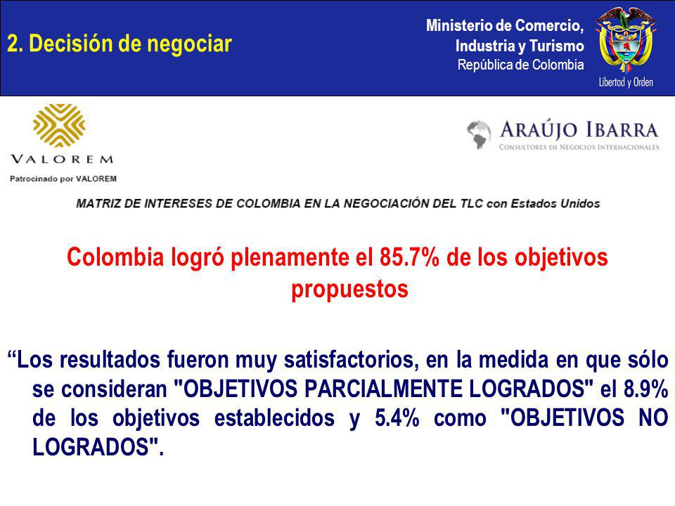 Ministerio de Comercio, Industria y Turismo República de Colombia 2. Decisión de negociar Colombia logró plenamente el 85.7% de los objetivos propuest