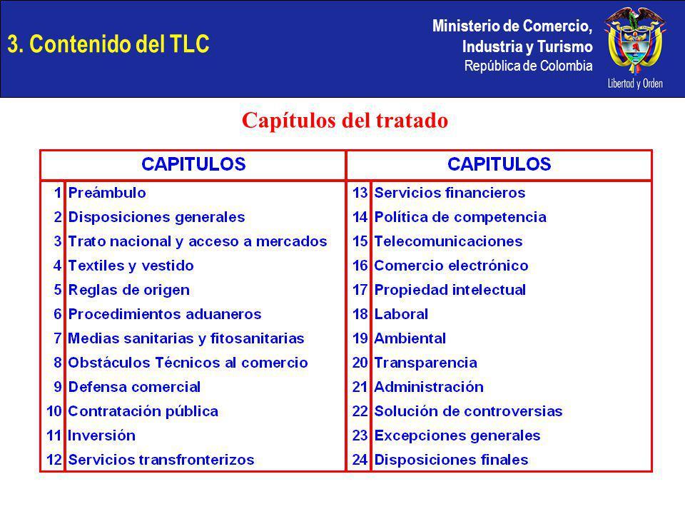Ministerio de Comercio, Industria y Turismo República de Colombia 3. Contenido del TLC Capítulos del tratado