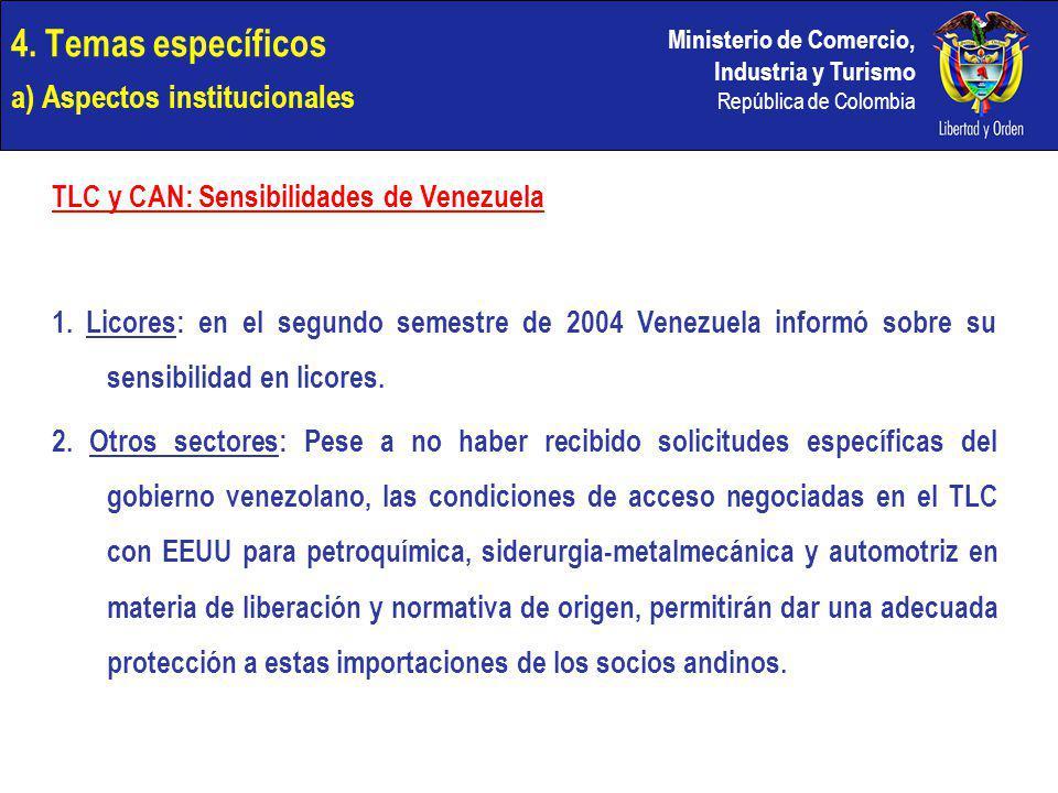 Ministerio de Comercio, Industria y Turismo República de Colombia 4. Temas específicos a) Aspectos institucionales TLC y CAN: Sensibilidades de Venezu