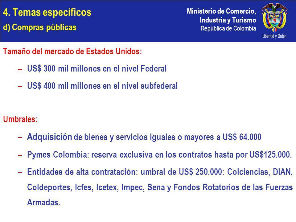 Ministerio de Comercio, Industria y Turismo República de Colombia 4. Temas específicos d) Compras públicas Tamaño del mercado de Estados Unidos: – US$