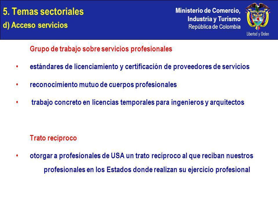 Ministerio de Comercio, Industria y Turismo República de Colombia 5. Temas sectoriales d) Acceso servicios Grupo de trabajo sobre servicios profesiona