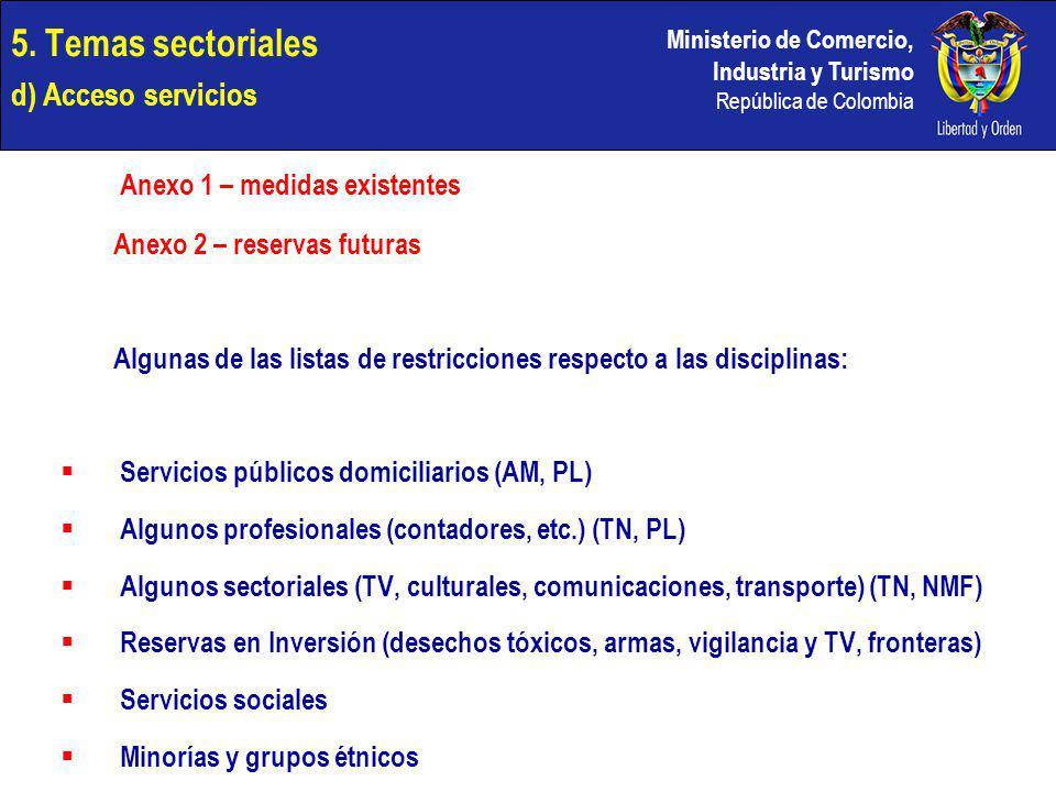 Ministerio de Comercio, Industria y Turismo República de Colombia 5. Temas sectoriales d) Acceso servicios Anexo 1 – medidas existentes Anexo 2 – rese