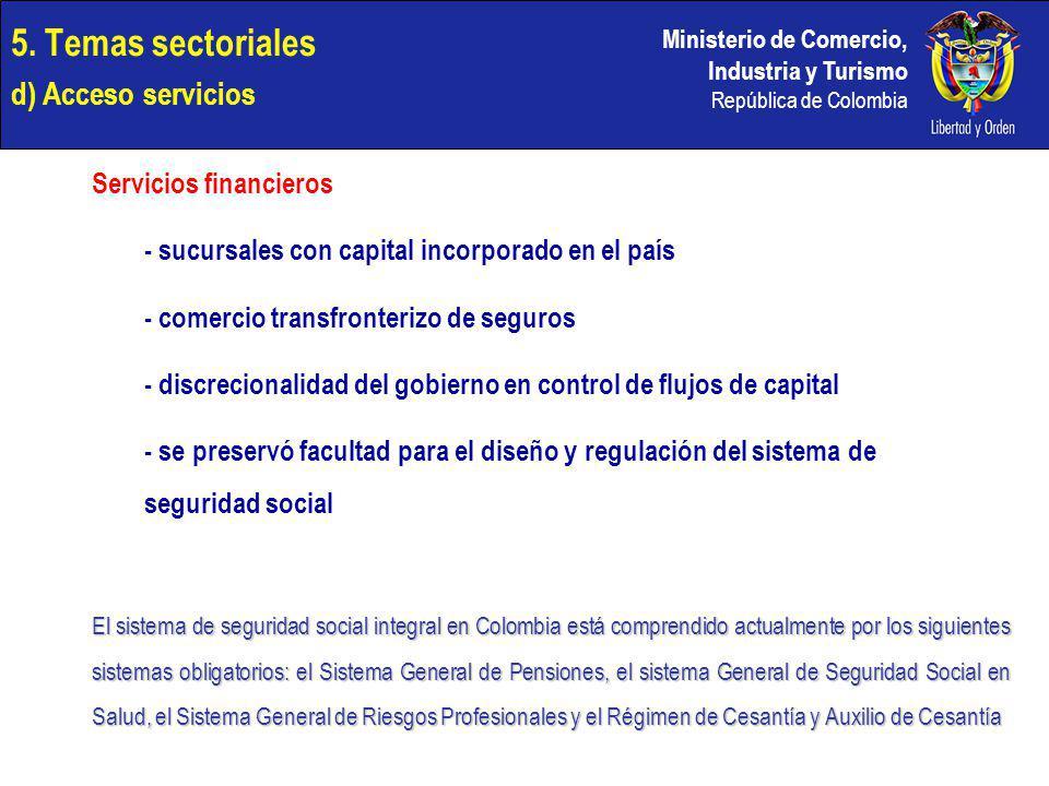 Ministerio de Comercio, Industria y Turismo República de Colombia 5. Temas sectoriales d) Acceso servicios Servicios financieros - sucursales con capi