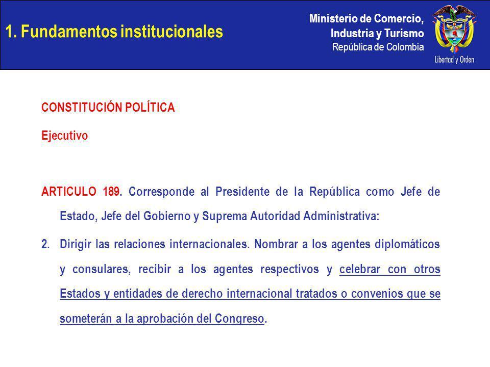 Ministerio de Comercio, Industria y Turismo República de Colombia 1. Fundamentos institucionales CONSTITUCIÓN POLÍTICA Ejecutivo ARTICULO 189. Corresp