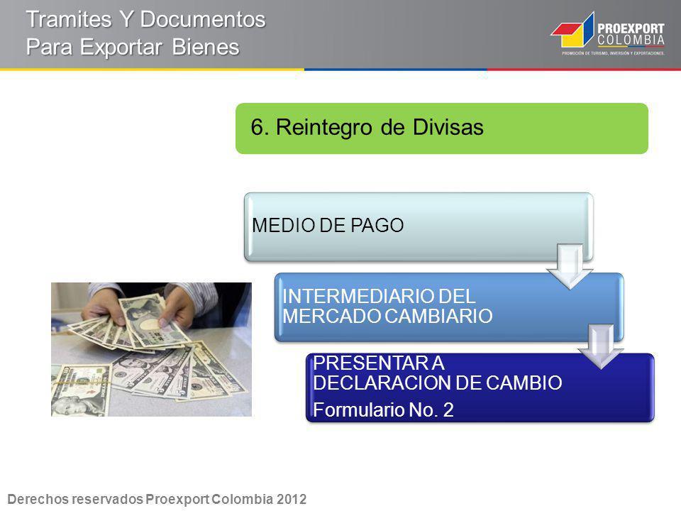 6. Reintegro de Divisas Derechos reservados Proexport Colombia 2012 Tramites Y Documentos Para Exportar Bienes MEDIO DE PAGO INTERMEDIARIO DEL MERCADO