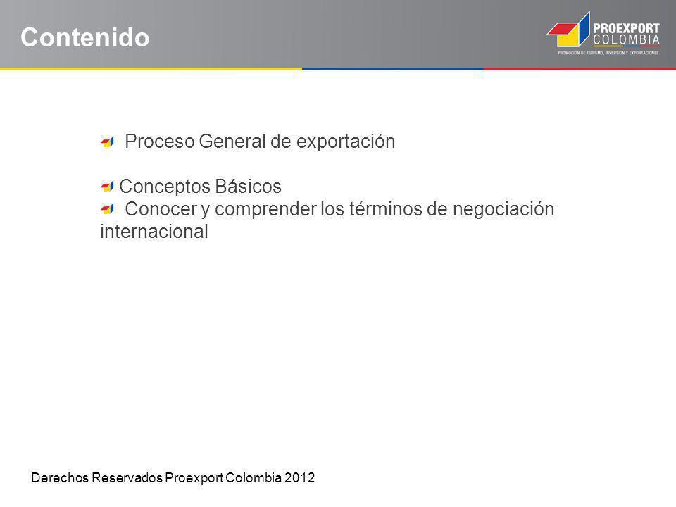 Contenido Proceso General de exportación Conceptos Básicos Conocer y comprender los términos de negociación internacional Derechos Reservados Proexpor