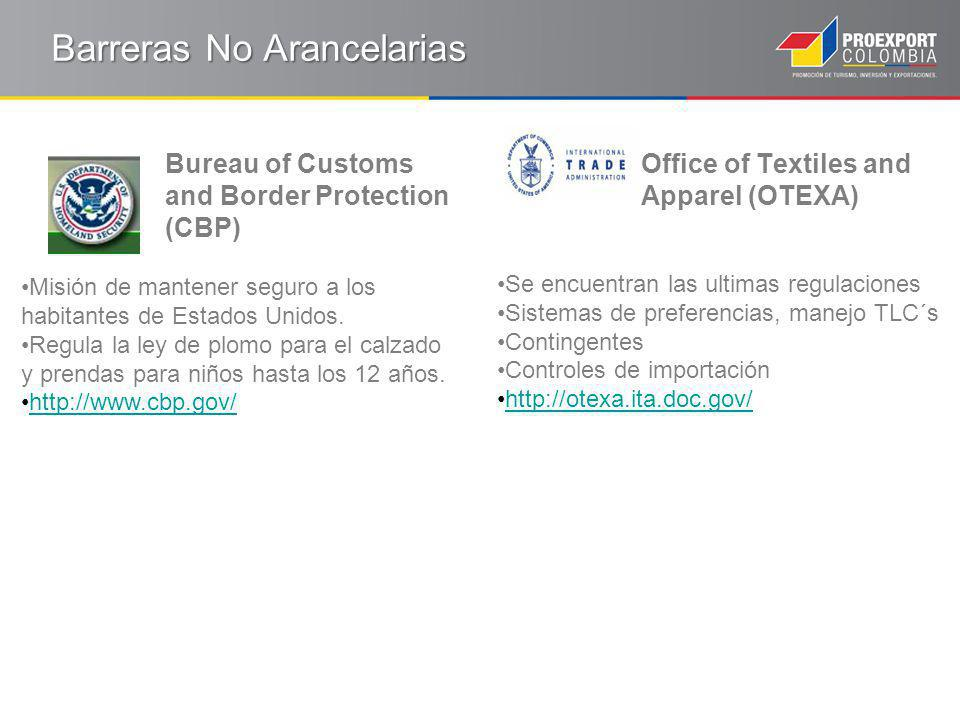Barreras No Arancelarias Bureau of Customs and Border Protection (CBP) Misión de mantener seguro a los habitantes de Estados Unidos.
