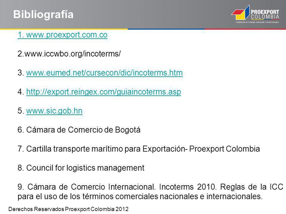 Bibliografía 1. www.proexport.com.co 2.www.iccwbo.org/incoterms/ 3. www.eumed.net/cursecon/dic/incoterms.htmwww.eumed.net/cursecon/dic/incoterms.htm 4