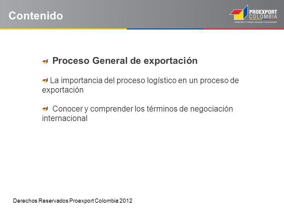 Contenido Proceso General de exportación La importancia del proceso logístico en un proceso de exportación Conocer y comprender los términos de negoci
