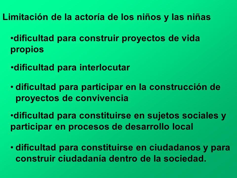 Limitación de la actoría de los niños y las niñas dificultad para construir proyectos de vida propios dificultad para interlocutar dificultad para par