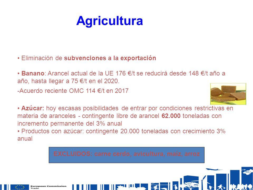 Agricultura Eliminación de subvenciones a la exportación Banano: Arancel actual de la UE 176 /t se reducirá desde 148 /t año a año, hasta llegar a 75 /t en el 2020.