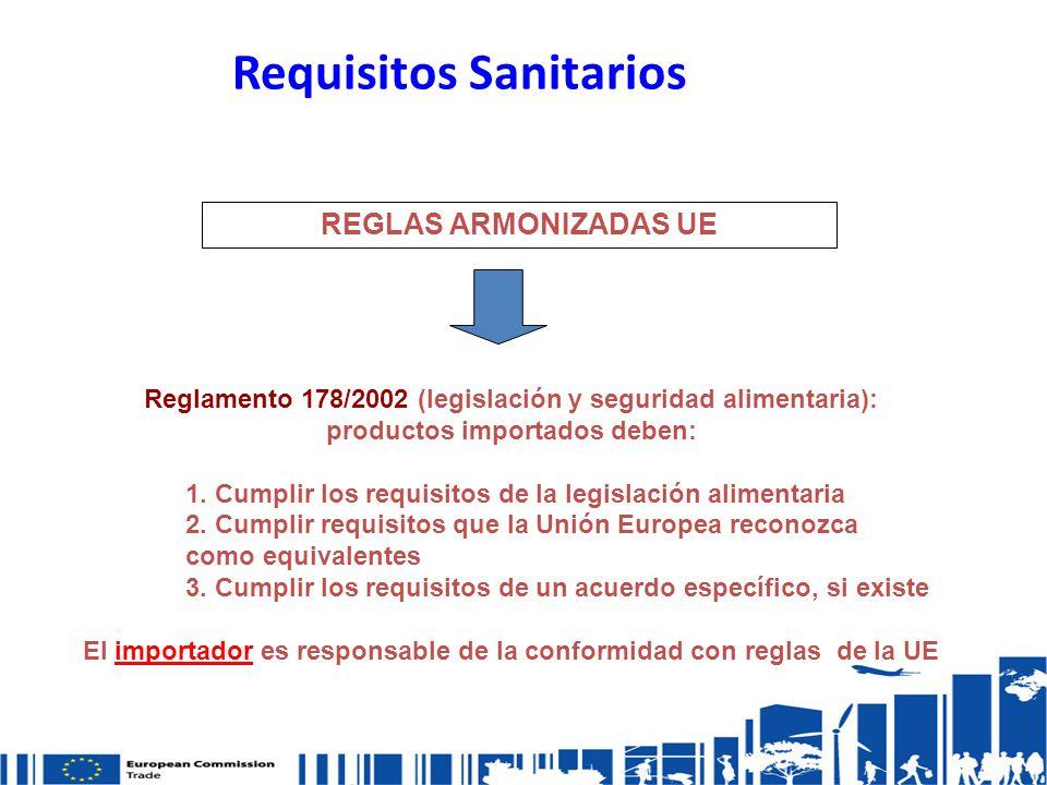 Requisitos Sanitarios Reglamento 178/2002 (legislación y seguridad alimentaria): productos importados deben: 1.