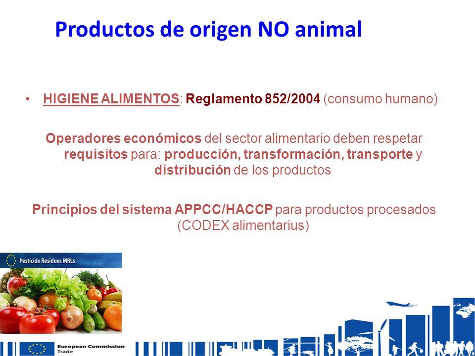 Productos de origen NO animal HIGIENE ALIMENTOS: Reglamento 852/2004 (consumo humano) Operadores económicos del sector alimentario deben respetar requisitos para: producción, transformación, transporte y distribución de los productos Principios del sistema APPCC/HACCP para productos procesados (CODEX alimentarius)