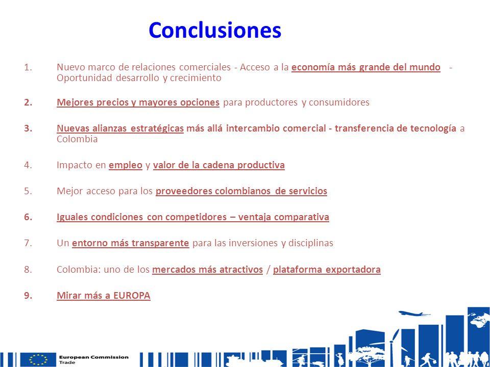 Conclusiones 1.Nuevo marco de relaciones comerciales - Acceso a la economía más grande del mundo - Oportunidad desarrollo y crecimiento 2.Mejores precios y mayores opciones para productores y consumidores 3.Nuevas alianzas estratégicas más allá intercambio comercial - transferencia de tecnología a Colombia 4.Impacto en empleo y valor de la cadena productiva 5.Mejor acceso para los proveedores colombianos de servicios 6.Iguales condiciones con competidores – ventaja comparativa 7.Un entorno más transparente para las inversiones y disciplinas 8.Colombia: uno de los mercados más atractivos / plataforma exportadora 9.Mirar más a EUROPA