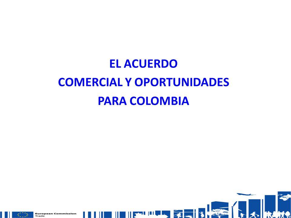 Relaciones comerciales Desde 1990 SPG: unilateral incertidumbre Disputa en la OMC – banano 2010: conclusión negociaciones de un Acuerdo Comercial Multiparte UE- Colombia y Perú Hoy: Fase Final Proceso de Ratificación http://trade.ec.europa.eu/doclib/press/index.cfm?id=691 Texto del Acuerdo: