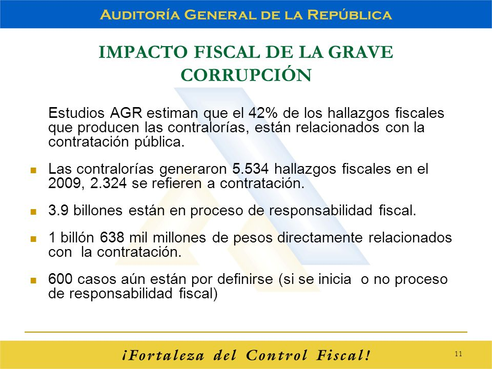 IMPACTO FISCAL DE LA GRAVE CORRUPCIÓN Estudios AGR estiman que el 42% de los hallazgos fiscales que producen las contralorías, están relacionados con