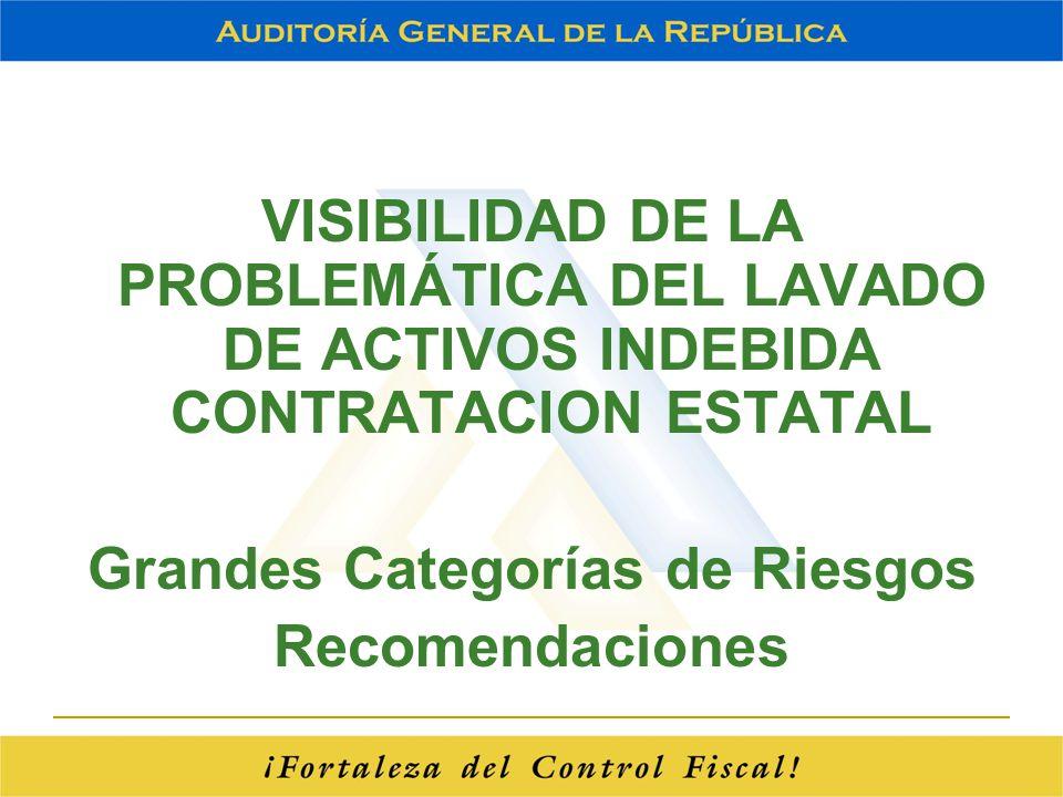 VISIBILIDAD DE LA PROBLEMÁTICA DEL LAVADO DE ACTIVOS INDEBIDA CONTRATACION ESTATAL Grandes Categorías de Riesgos Recomendaciones