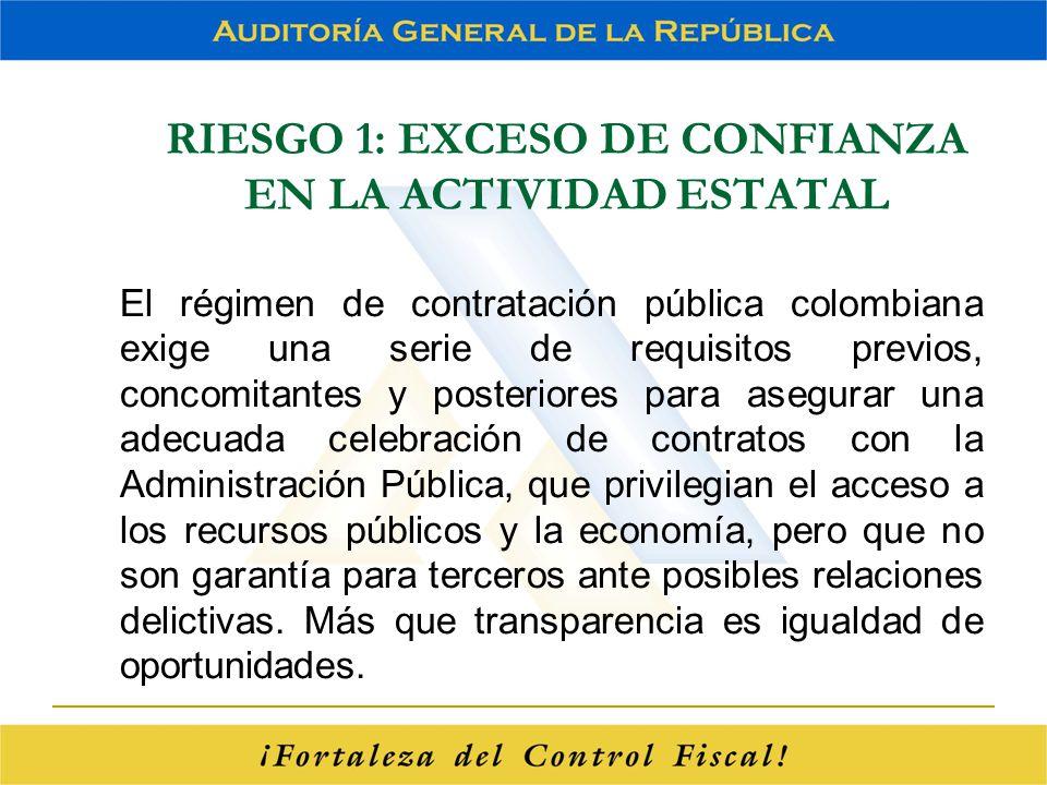 RIESGO 1: EXCESO DE CONFIANZA EN LA ACTIVIDAD ESTATAL El régimen de contratación pública colombiana exige una serie de requisitos previos, concomitant