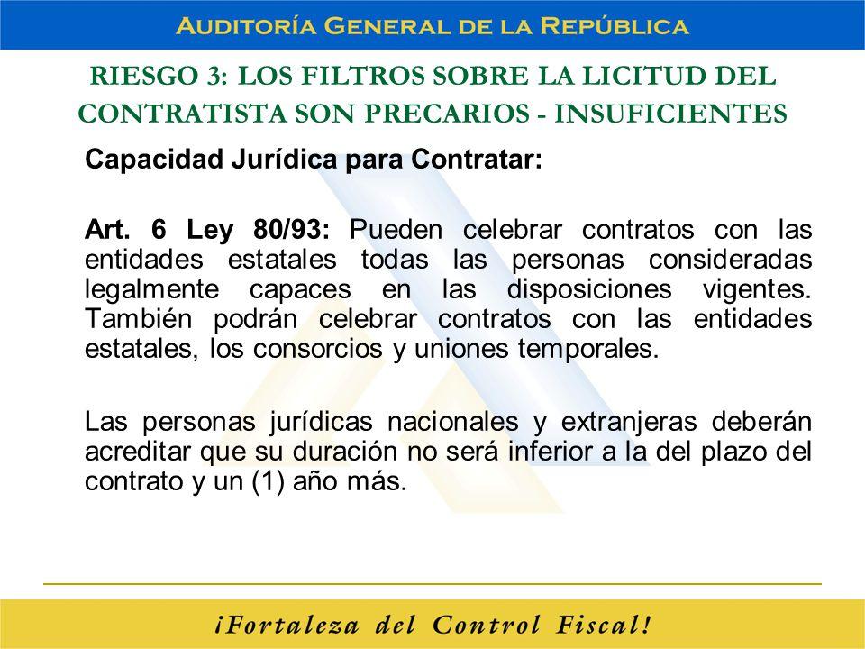 RIESGO 3: LOS FILTROS SOBRE LA LICITUD DEL CONTRATISTA SON PRECARIOS - INSUFICIENTES Capacidad Jurídica para Contratar: Art. 6 Ley 80/93: Pueden celeb