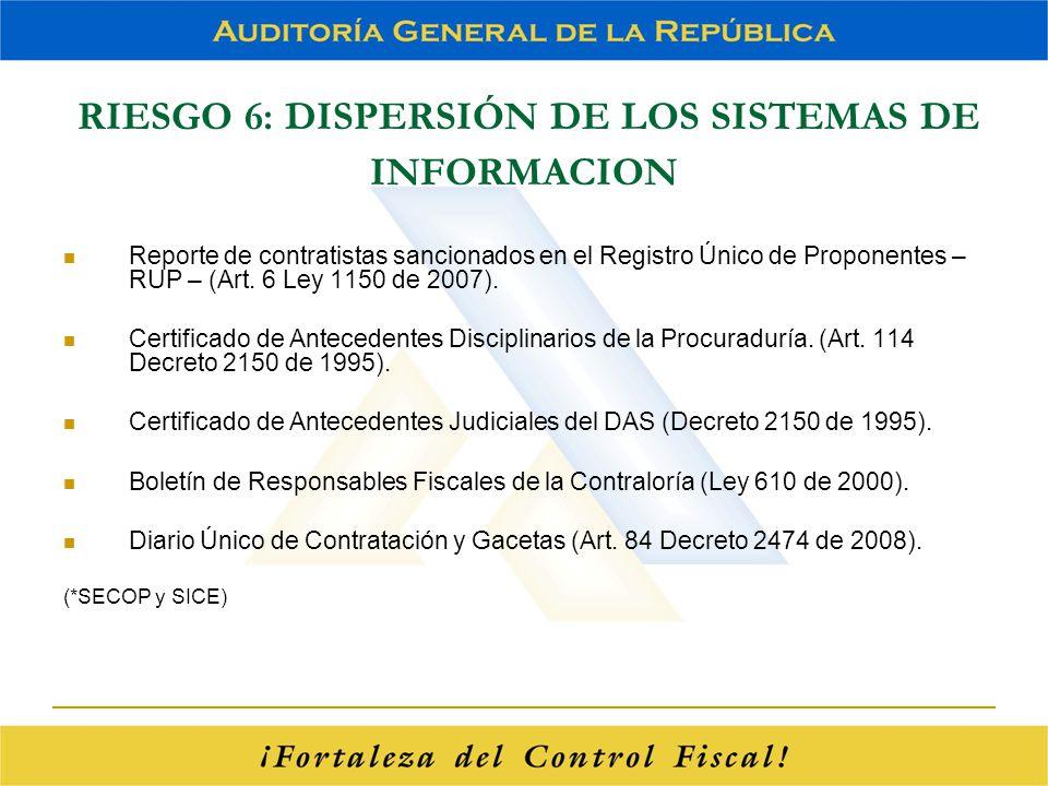 RIESGO 6: DISPERSIÓN DE LOS SISTEMAS DE INFORMACION Reporte de contratistas sancionados en el Registro Único de Proponentes – RUP – (Art. 6 Ley 1150 d
