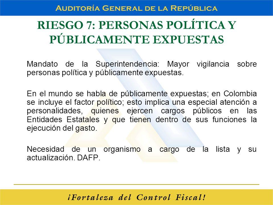 RIESGO 7: PERSONAS POLÍTICA Y PÚBLICAMENTE EXPUESTAS Mandato de la Superintendencia: Mayor vigilancia sobre personas política y públicamente expuestas