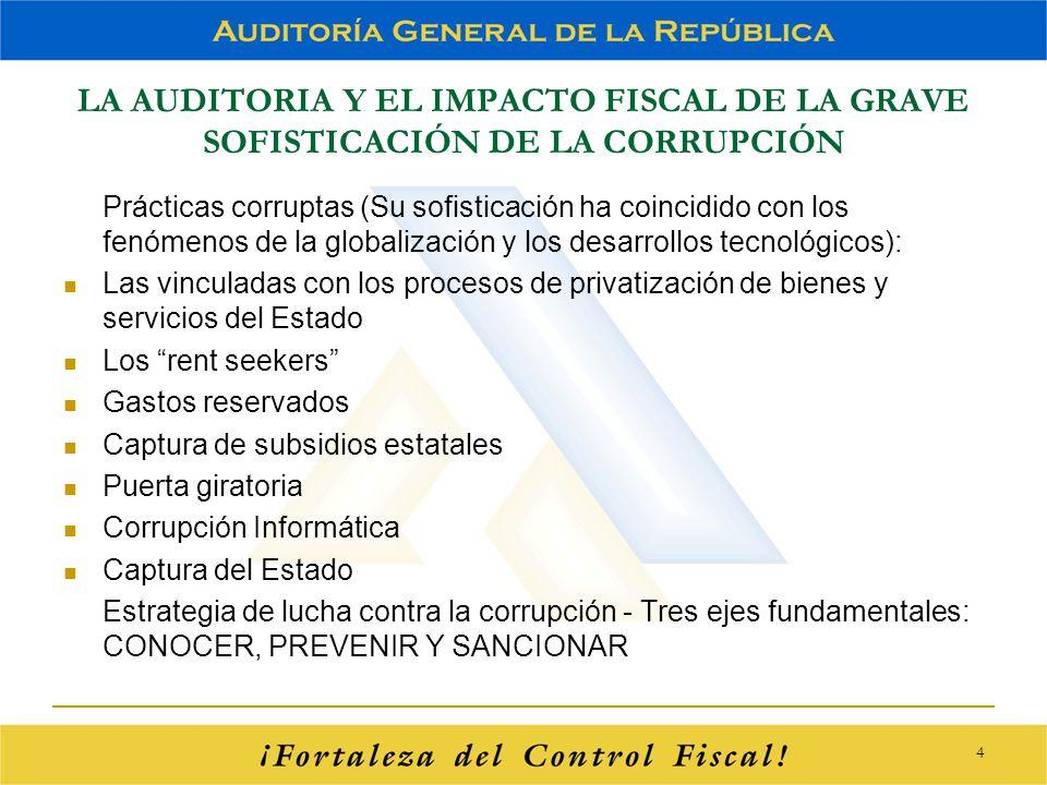 LA AUDITORIA Y EL IMPACTO FISCAL DE LA GRAVE SOFISTICACIÓN DE LA CORRUPCIÓN Prácticas corruptas (Su sofisticación ha coincidido con los fenómenos de l