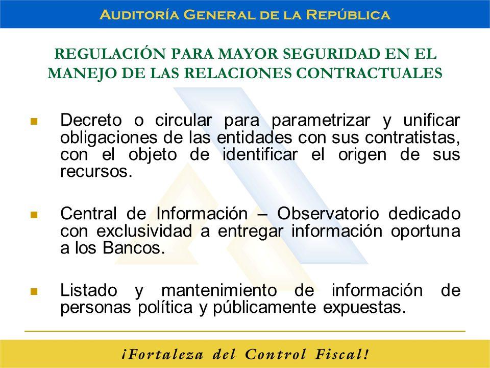 REGULACIÓN PARA MAYOR SEGURIDAD EN EL MANEJO DE LAS RELACIONES CONTRACTUALES Decreto o circular para parametrizar y unificar obligaciones de las entid