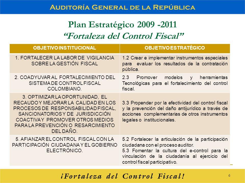 Plan Estratégico 2009 -2011 Fortaleza del Control Fiscal OBJETIVO INSTITUCIONALOBJETIVO ESTRATÉGICO 1. FORTALECER LA LABOR DE VIGILANCIA SOBRE LA GEST