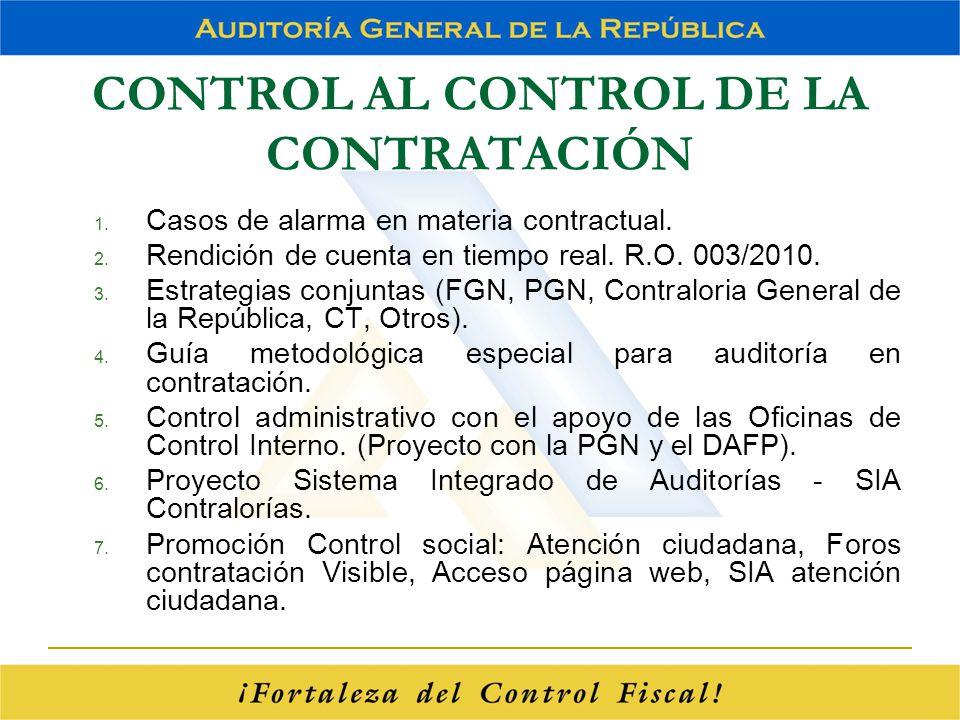 CONTROL AL CONTROL DE LA CONTRATACIÓN 1. Casos de alarma en materia contractual. 2. Rendición de cuenta en tiempo real. R.O. 003/2010. 3. Estrategias