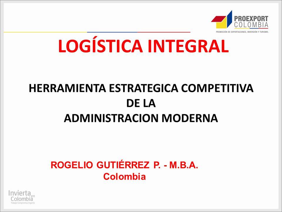 LOGÍSTICA INTEGRAL HERRAMIENTA ESTRATEGICA COMPETITIVA DE LA ADMINISTRACION MODERNA ROGELIO GUTIÉRREZ P. - M.B.A. Colombia
