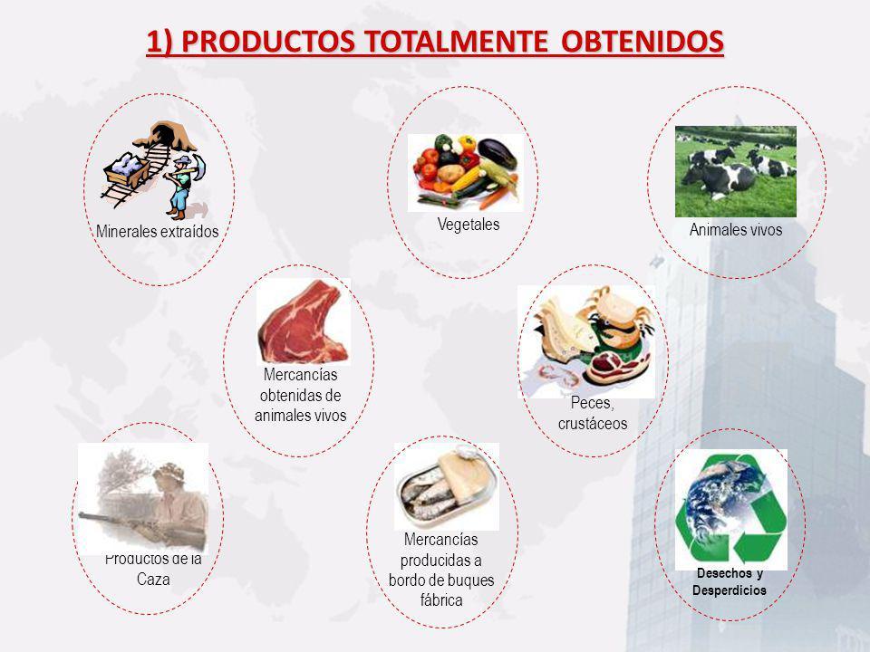 Desechos y Desperdicios Mercancías obtenidas de animales vivos Peces, crustáceos Mercancías producidas a bordo de buques fábrica Productos de la Caza
