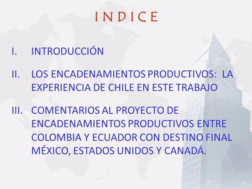 I N D I C E I.INTRODUCCIÓN II.LOS ENCADENAMIENTOS PRODUCTIVOS: LA EXPERIENCIA DE CHILE EN ESTE TRABAJO III.COMENTARIOS AL PROYECTO DE ENCADENAMIENTOS