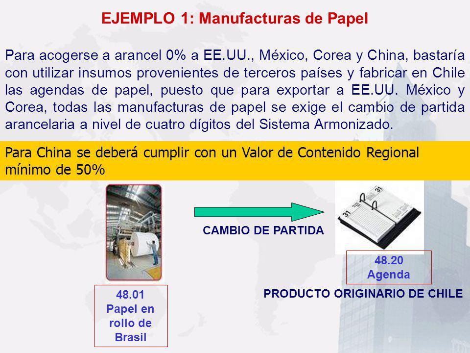 EJEMPLO 1: Manufacturas de Papel Para acogerse a arancel 0% a EE.UU., México, Corea y China, bastaría con utilizar insumos provenientes de terceros pa