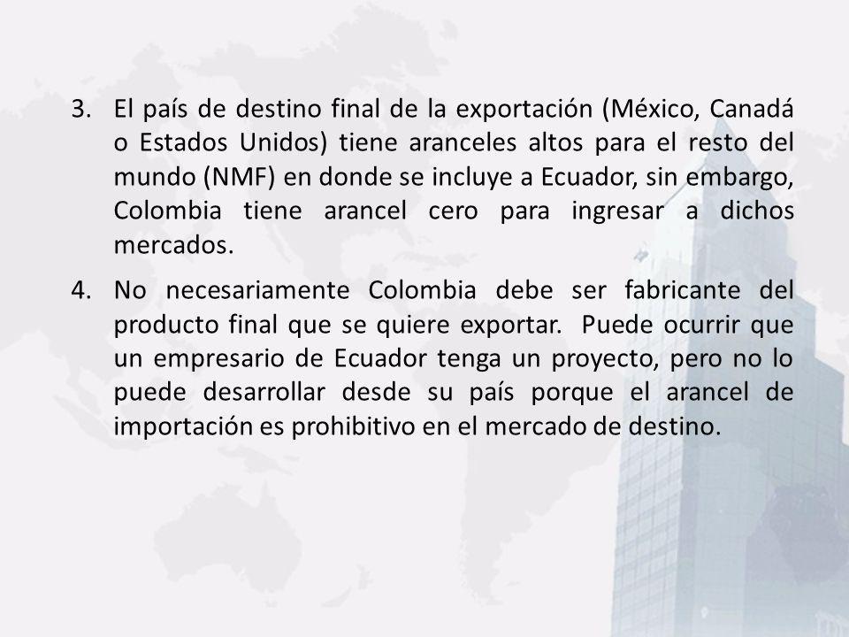 3.El país de destino final de la exportación (México, Canadá o Estados Unidos) tiene aranceles altos para el resto del mundo (NMF) en donde se incluye